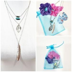 Multilayer leaf necklace  earring scrunchie set
